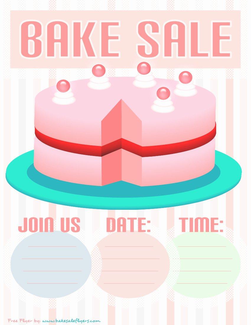 Bake Sale Flyer Wording Fresh Bake Sale Flyer Template Pink Cake