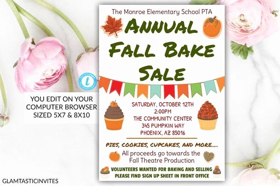Bake Sale Flyer Wording Unique Annual Fall Bake Sale Flyer Poster Template Printable Pta