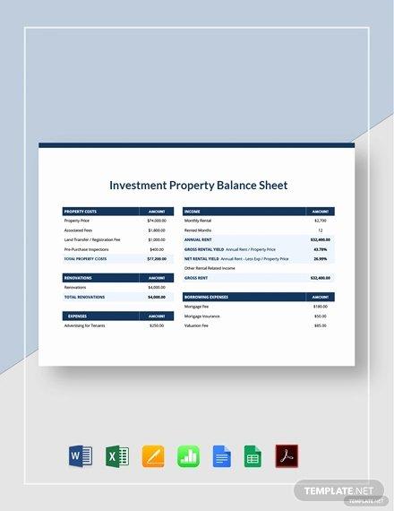 Balance Sheet Template Google Docs Awesome Investment Property Balance Sheet Template Word