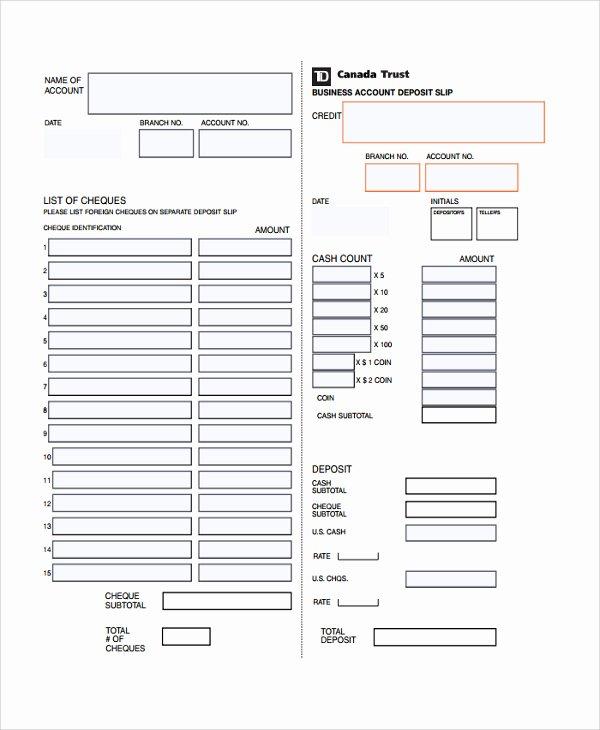 Bank Deposit Slip Template Luxury Free Printable Deposit Slip Template