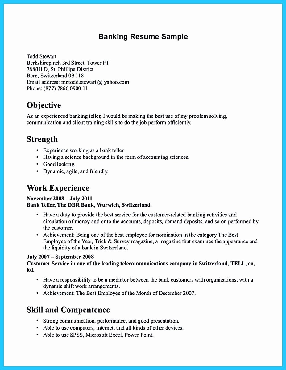 Banking Cover Letter Sample Best Of Learning to Write From A Concise Bank Teller Resume Sample
