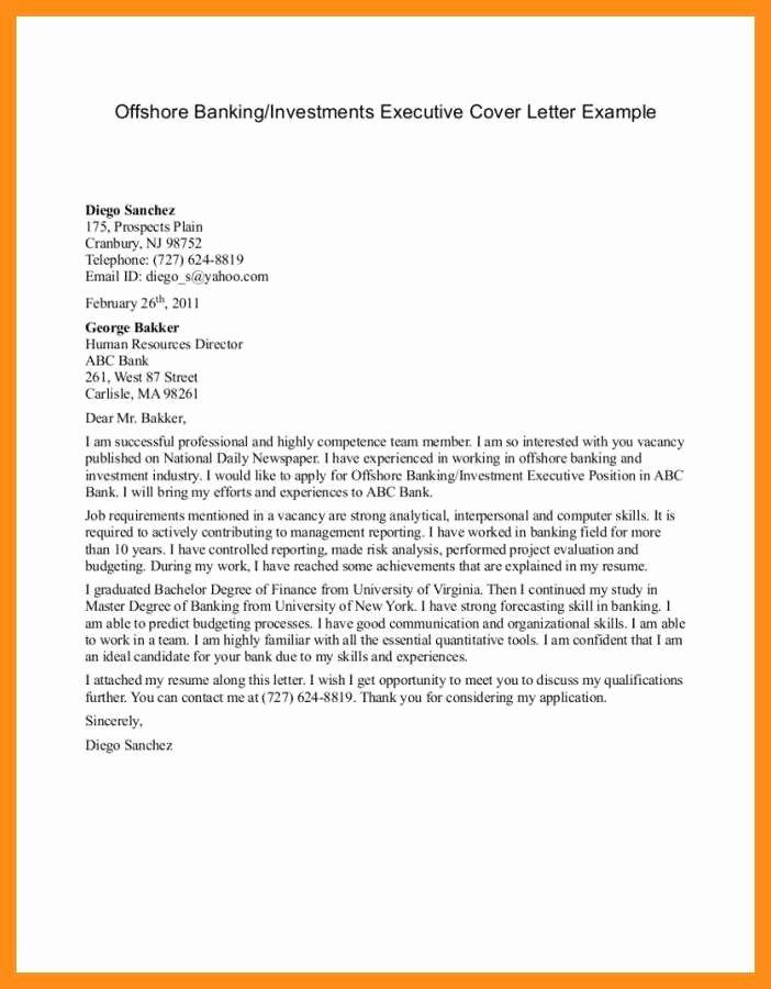 Banking Cover Letter Sample Inspirational 12 13 Sample Banking Cover Letters