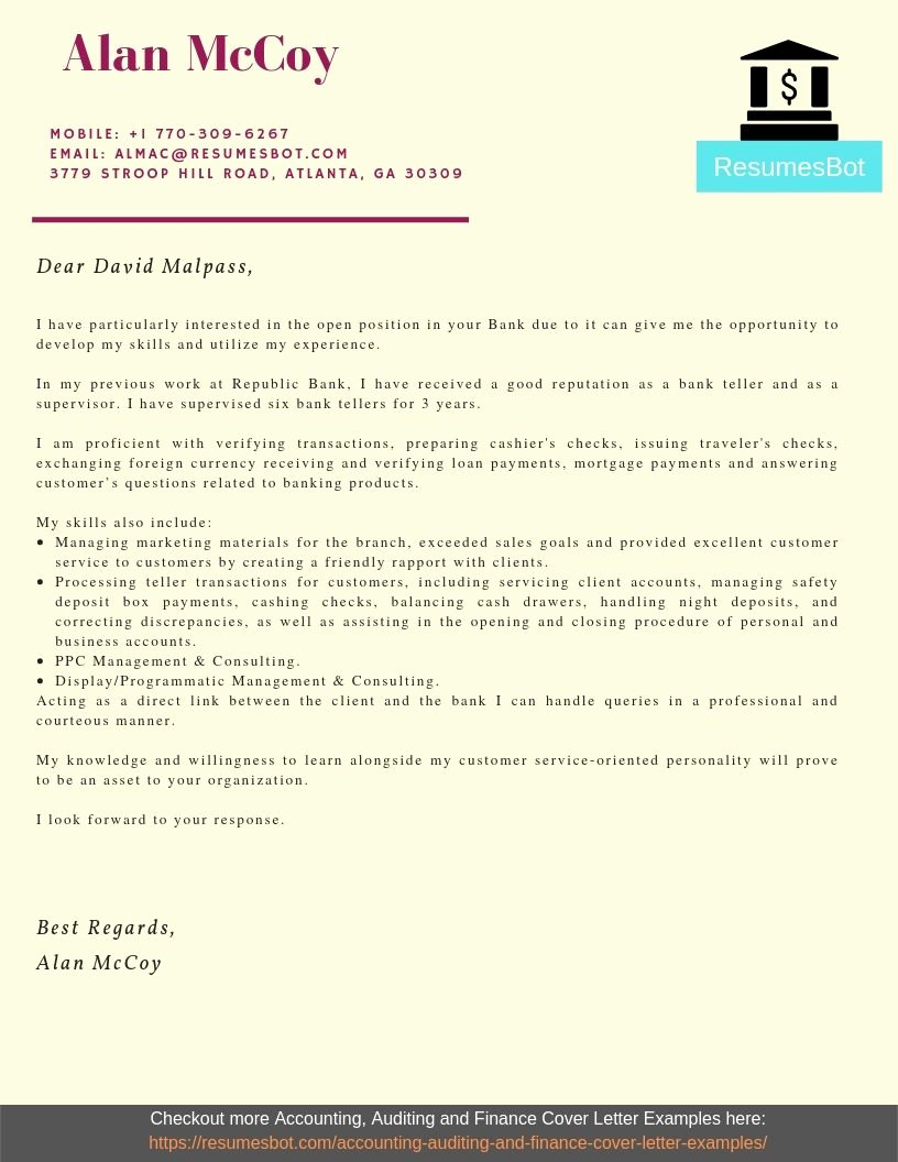 Banking Cover Letter Sample Lovely Bank Teller Cover Letter Samples & Templates [pdf Word