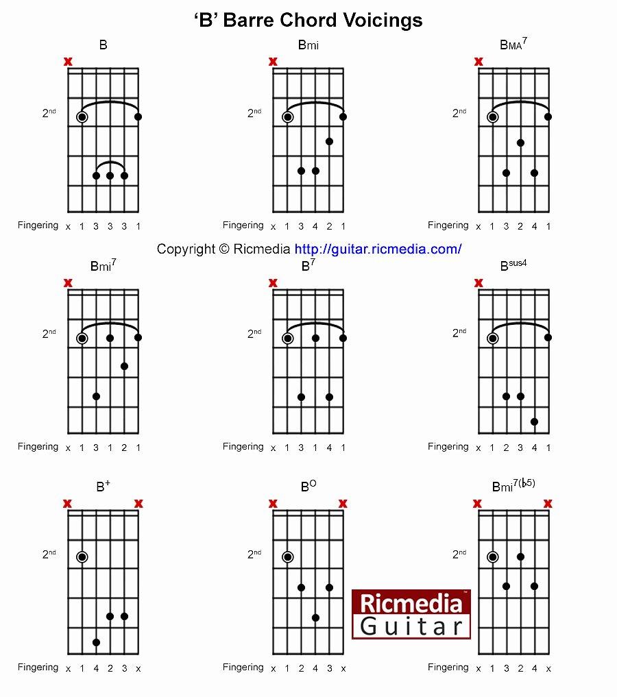 Bar Chords Guitar Chart Beautiful B Open Chords