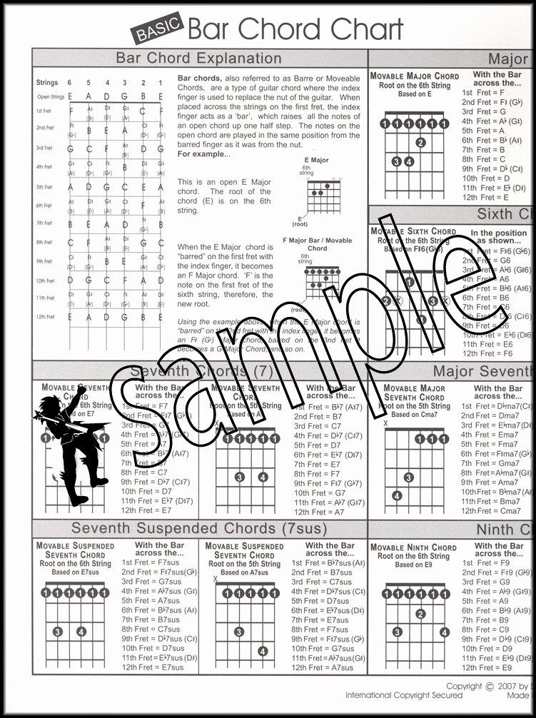 Bar Chords Guitar Chart Beautiful Basic Guitar Bar Chord Chart Santorella Easy to Read