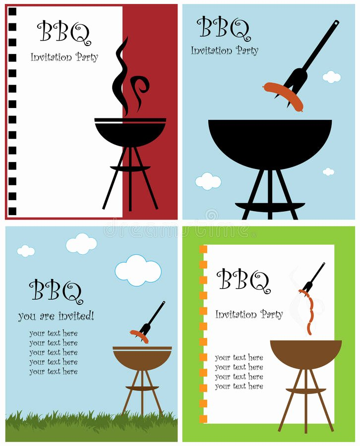 Barbecue Invitation Free Template Inspirational Bbq Party Invitation Stock Vector Illustration Of