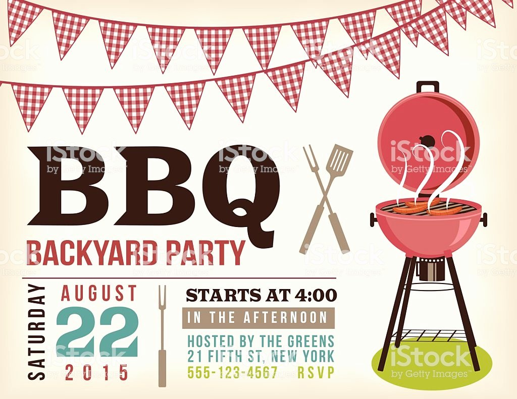 retro bbq invitation template with checkered flags gm