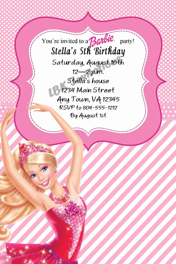Barbie Invitations Templates Free Best Of Custom Barbie Birthday Invitation On Etsy $12 00