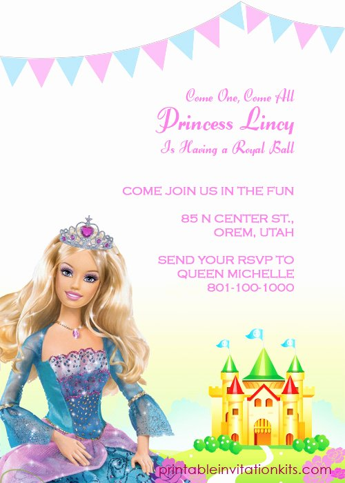 Barbie Invitations Templates Free Elegant Barbie Princess Birthday Invitation Template ← Wedding