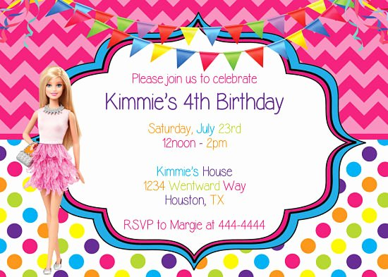 Barbie Invitations Templates Free Elegant Happy Birthday Boutique