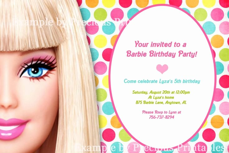 Barbie Invitations Templates Free Fresh Barbie Invitation Barbie Birthday Party