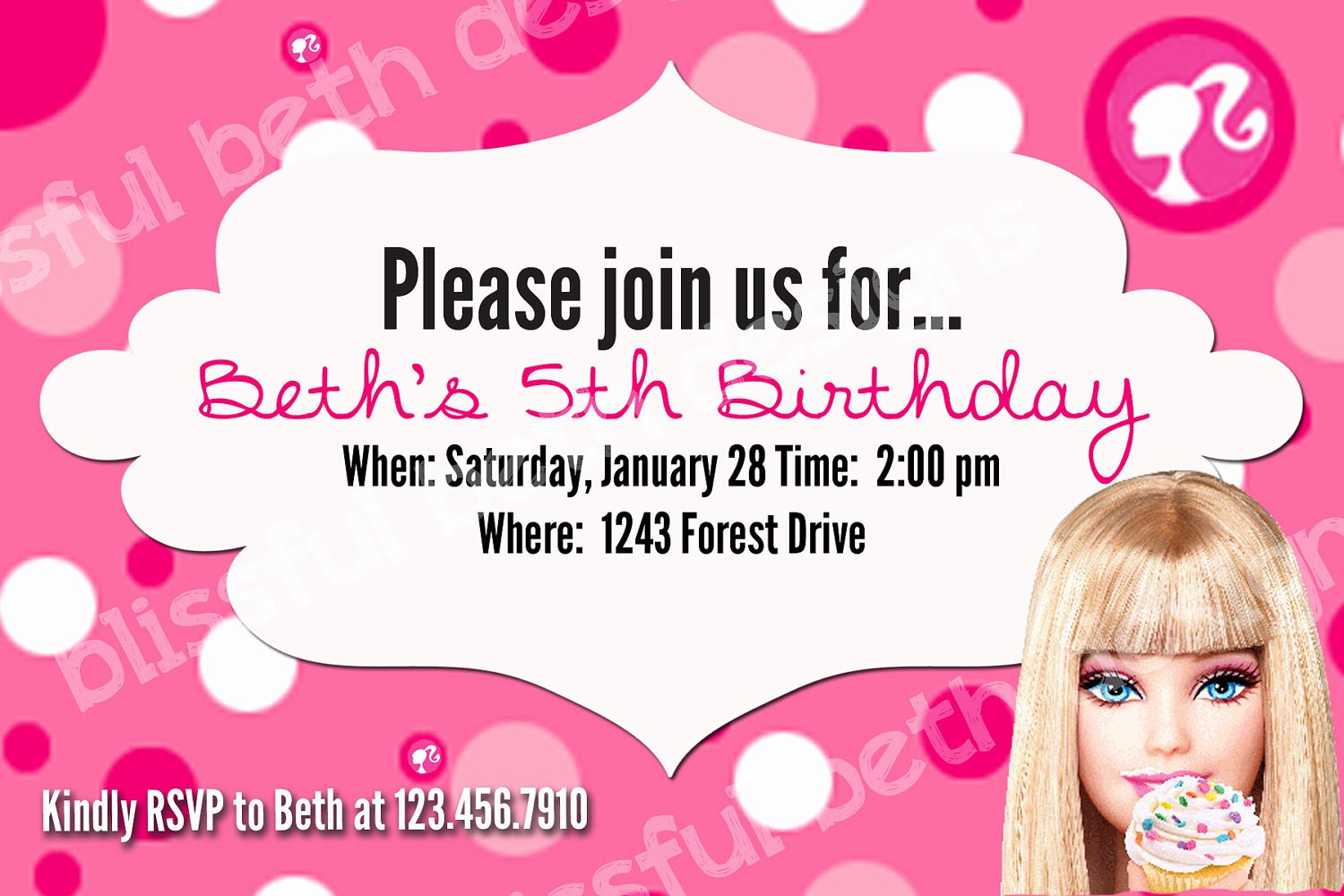 Barbie Invitations Templates Free Fresh Free Barbie Invitation Templates