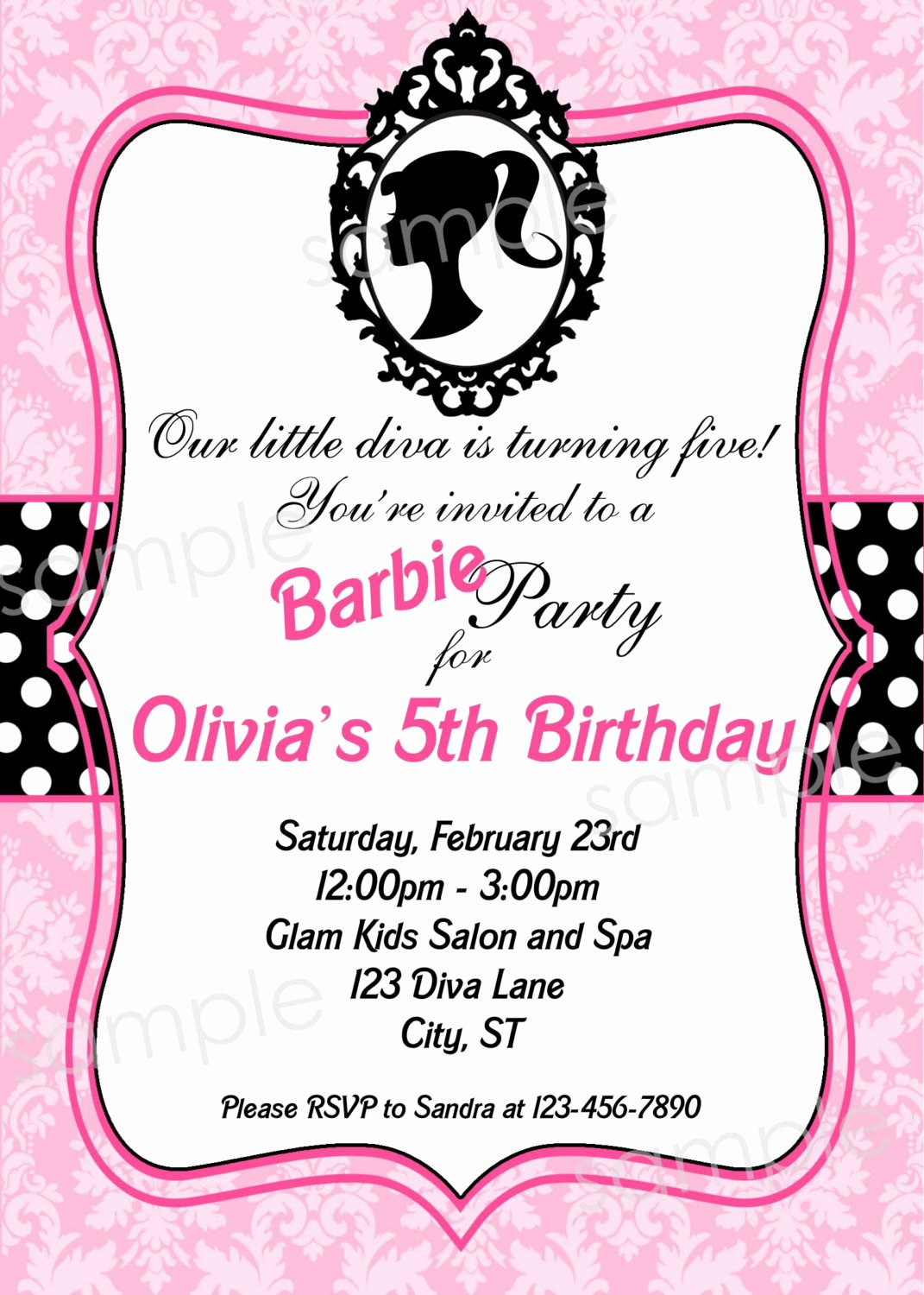Barbie Invitations Templates Free Inspirational Barbie Inspired Birthday Party Invitation Diy by Modpoddesigns