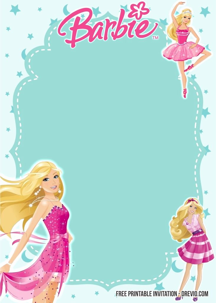 Barbie Invitations Templates Free Inspirational Free Printable Barbie Birthday Invitation Templates