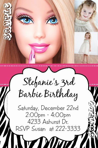 Barbie Invitations Templates Free Lovely Barbie Animal Print Birthday Invitations All Colors