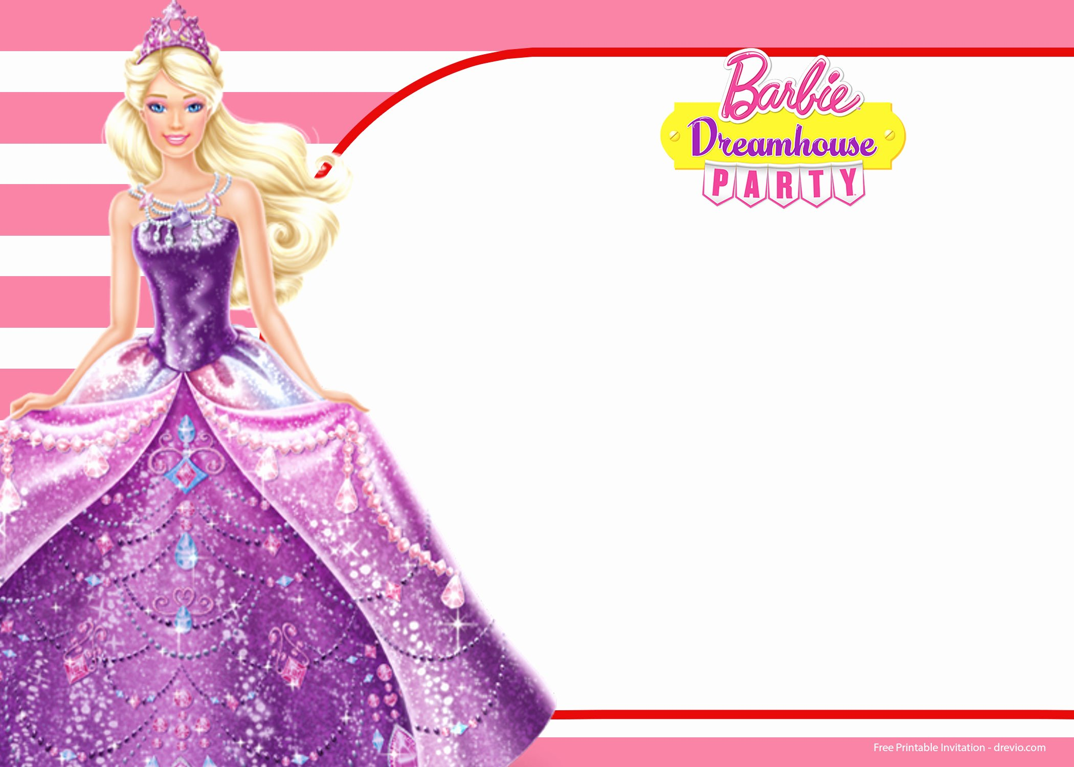 Barbie Invitations Templates Free Lovely Free Barbie Birthday Invitation Templates