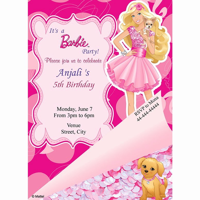 Barbie Invitations Templates Free Unique Girl Birthday Barbie Birthday Invite