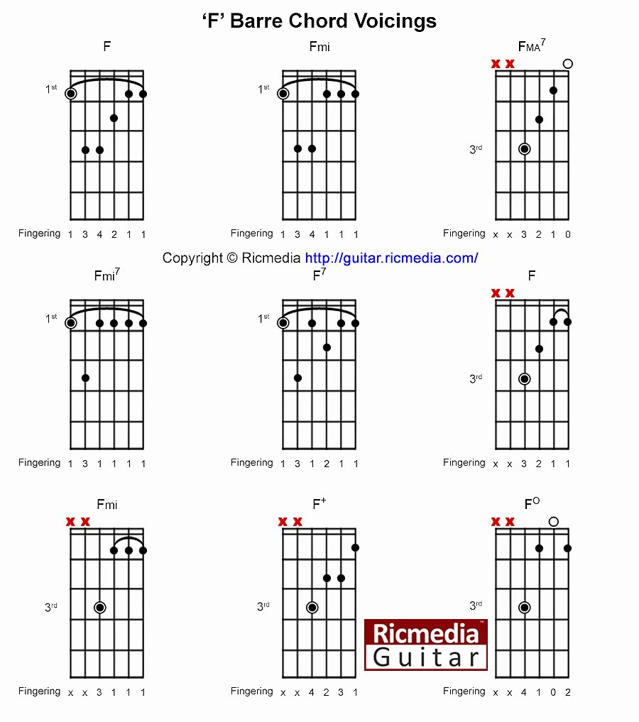 Barre Chords Guitar Chart Best Of F Open Chords