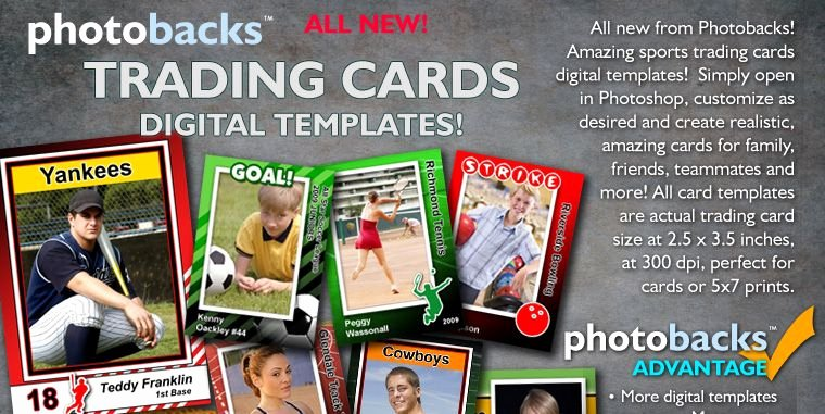 Baseball Card Template Photoshop Free Beautiful Sports Trading Cards Digital Shop Templates