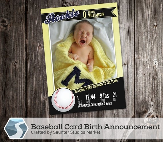 Baseball Card Template Photoshop Free Best Of Baseball Card Birth Announcement 5 X 7 Birth Announcement