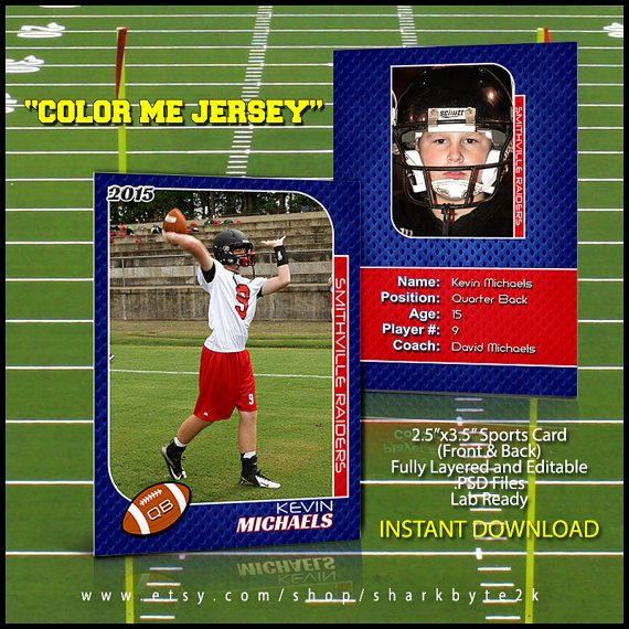 Baseball Card Template Photoshop Free Inspirational 2017 Football Sports Trading Card Template for Shop Color