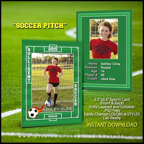 Baseball Card Template Photoshop Free Lovely 2019 soccer Sports Trader Card Template for Shop