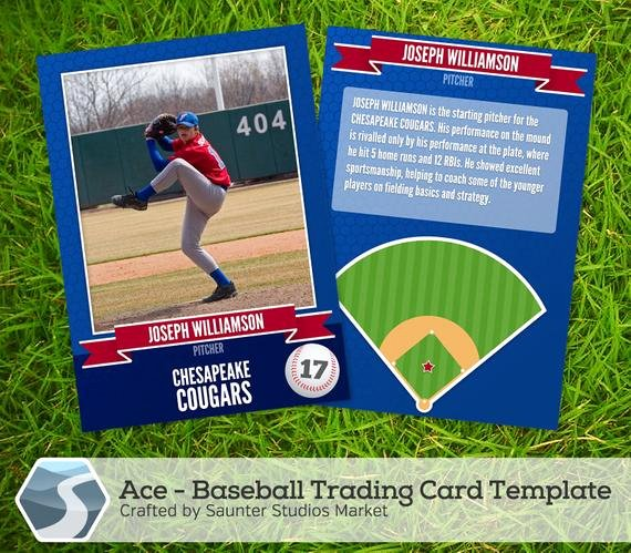 "Baseball Card Template Photoshop Free Luxury Ace Baseball Trading Card 2 5"" X 3 5"" Shop"