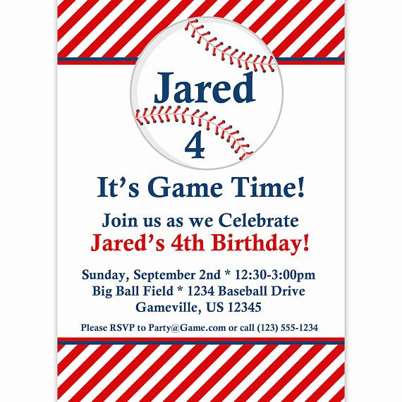 Baseball Invitation Template Free Awesome Baseball Invitation Red Striped Baseball Ball Personalized