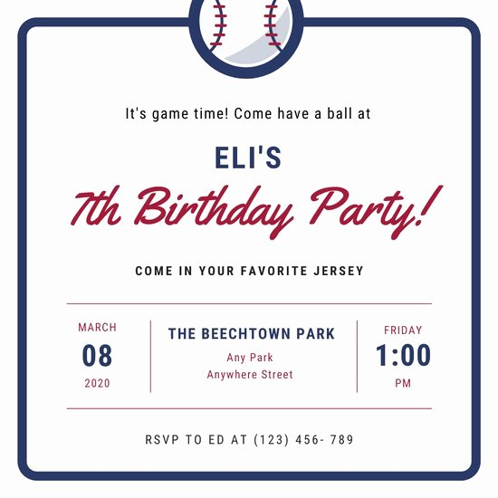 Baseball Invitation Template Free Awesome Customize 76 Sports Invitation Templates Online Canva