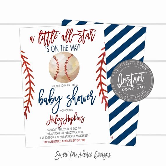 Baseball Invitation Template Free Beautiful Baseball Baby Shower Invitation Little All Star Shower