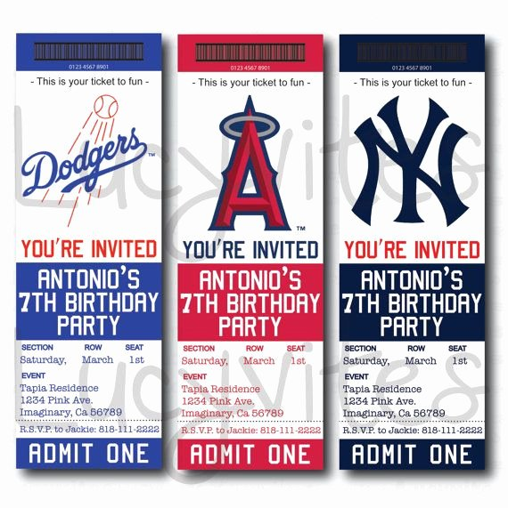 Baseball Invitation Template Free Beautiful Baseball Ticket Stub Digital Invitation Any Team by