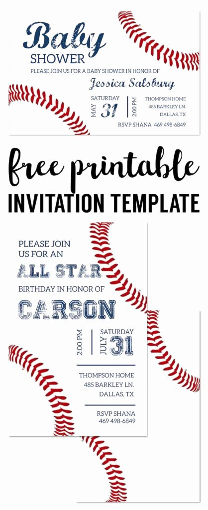 Baseball Invitation Template Free Best Of Baseball Party Invitations Free Printable