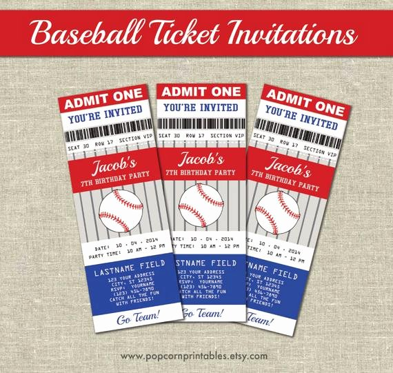 Baseball Invitation Template Free Inspirational Baseball Ticket Invitations Printables Editable Text Pdf