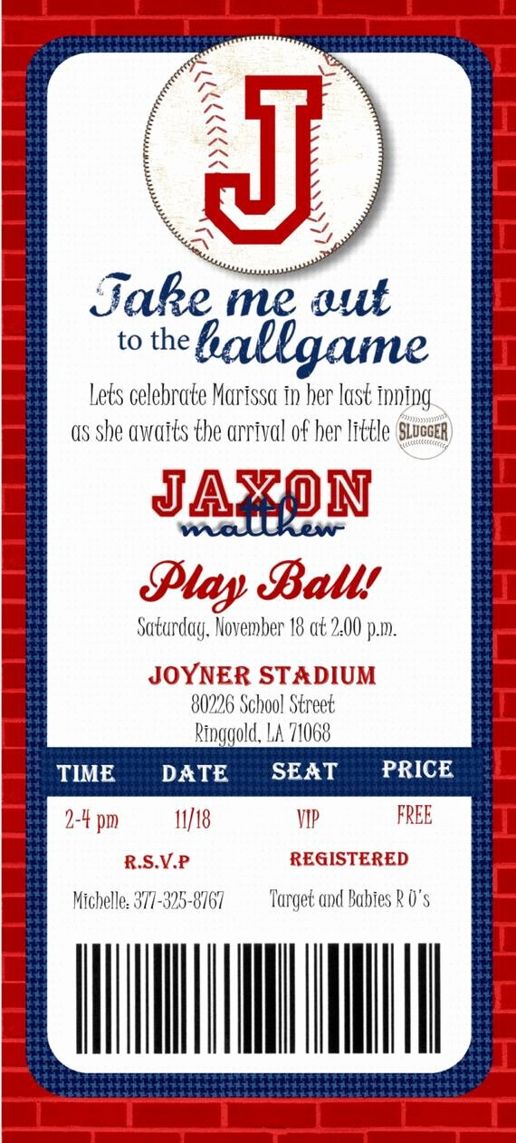 Baseball Invitation Template Free Lovely Custom Printed Baseball Ticket Shower or by Joyinvitations