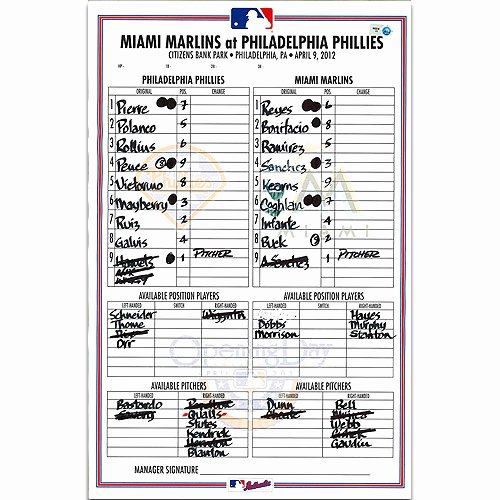 Baseball Line Up Card Lovely Around the Control Room Horn