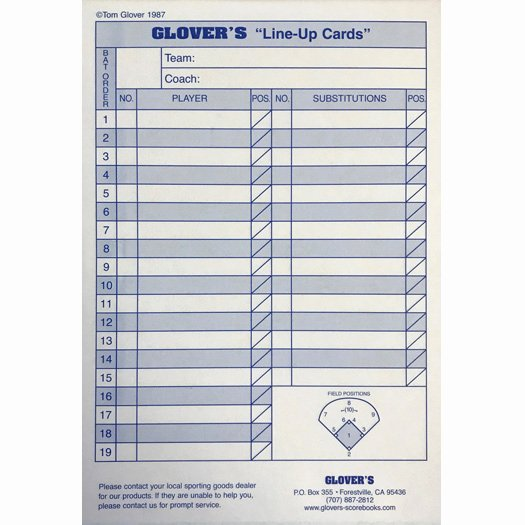 Baseball Line Up Card Luxury Glover S Baseball softball Line Up Cards Bb 103