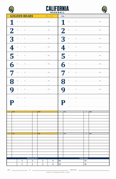 Baseball Line Up Card New Custom College Baseball Dugout Cards