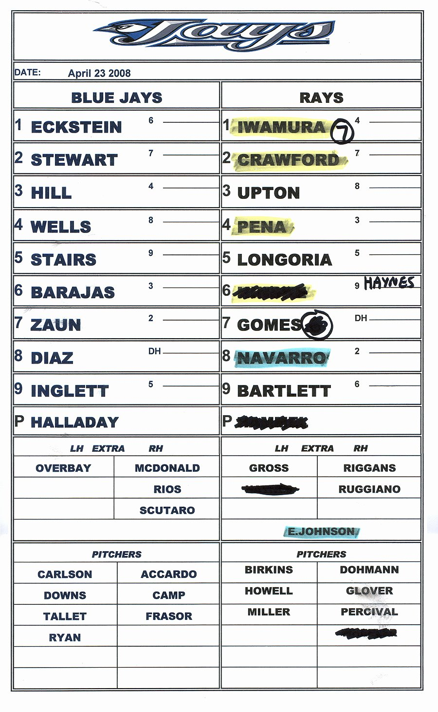 Baseball Line Up Cards Best Of 4 23 08 at Champion Stadium