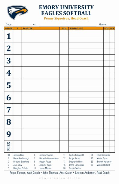 Baseball Line Up Cards Luxury Custom College softball Lineup Cards