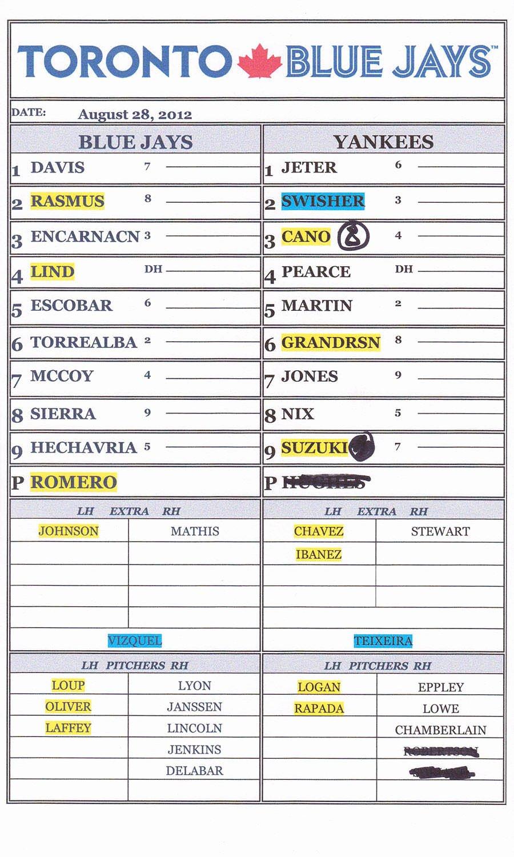 Baseball Line Up Cards New 8 28 12 at Yankee Stadium