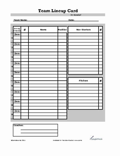 Baseball Line Up Sheets Luxury Baseball Lineup Card Sports