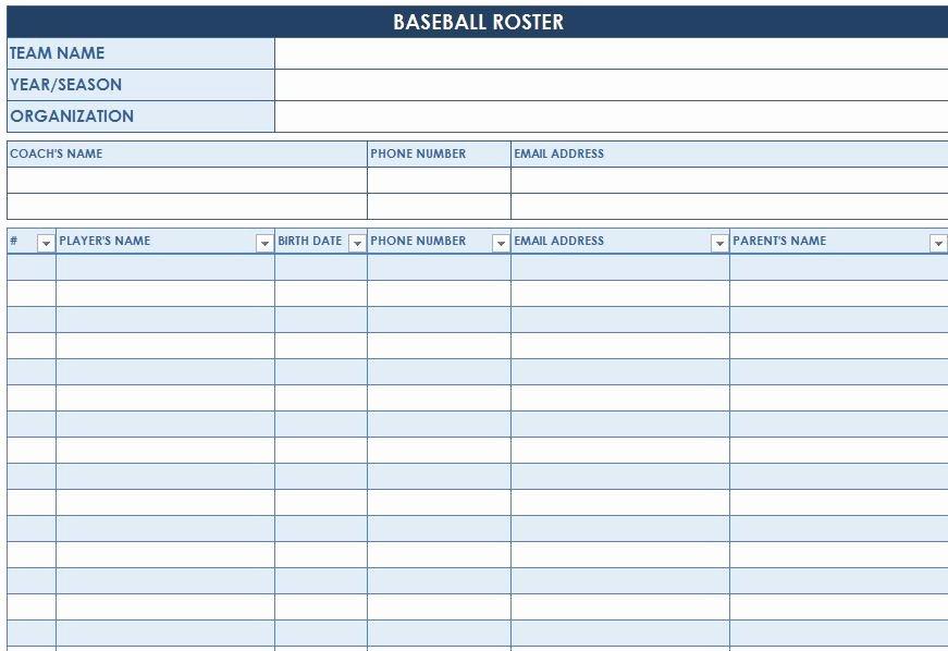 Baseball Lineup Card Excel Lovely Baseball Roster Template