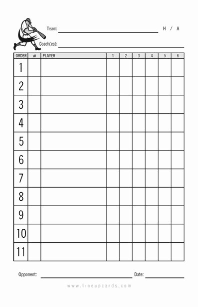 Baseball Lineup Card Excel Lovely Custom Recreational Baseball League Lineup Cards