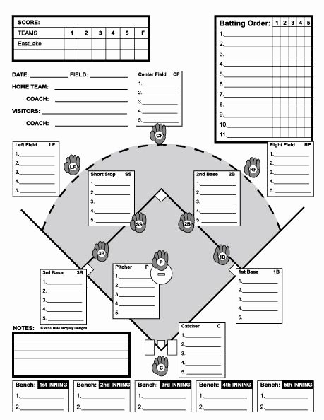 Baseball Lineup Card Generator Awesome Baseball Line Up Custom Designed for 11 Players Useful