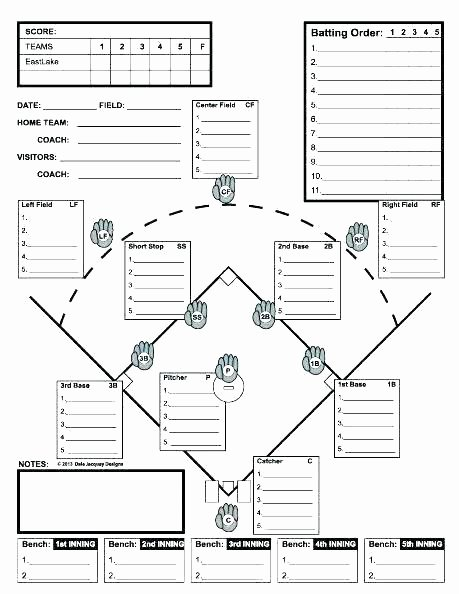 Baseball Lineup Card Generator Beautiful Little League Lineup Template