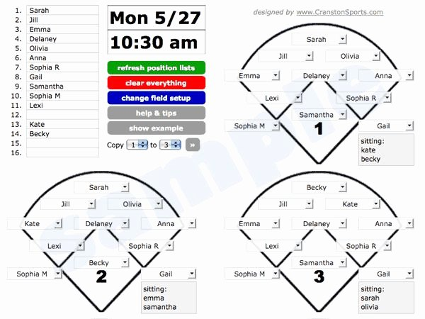 Baseball Lineup Card Generator Elegant Great Visual for Position Rotation