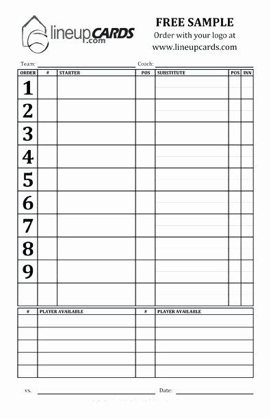 Baseball Lineup Card Generator Lovely Free Baseball Batting Lineup Sheet – Rsenterprises