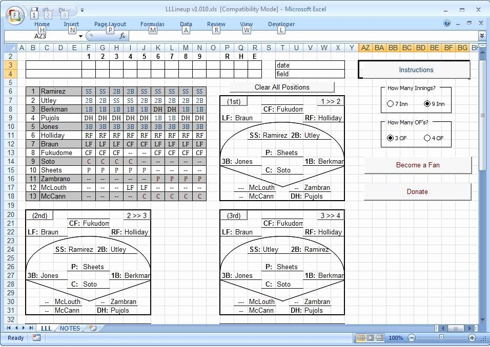 Baseball Lineup Excel Template Unique Release History