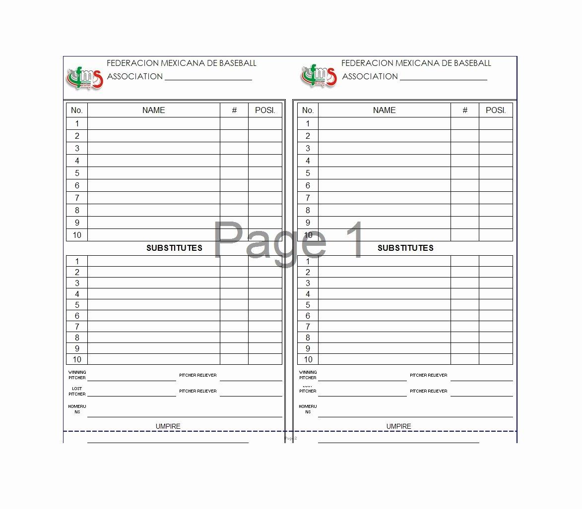 Baseball Lineup Template Awesome 33 Printable Baseball Lineup Templates [free Download]