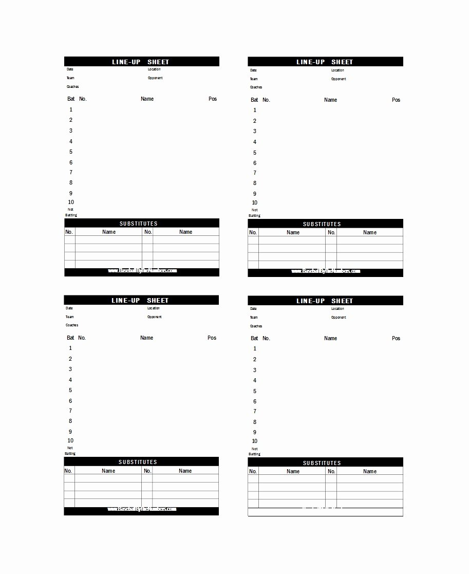 Baseball Lineup Template Inspirational 33 Printable Baseball Lineup Templates [free Download]